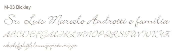 Letra e Fontes para convites de casamento - Letras Clássicas M-03 - Art Invitte Convites