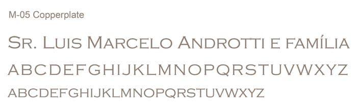 Letra e Fontes para convites de casamento - Letras Clássicas M-05 - Art Invitte Convites