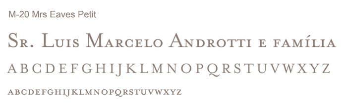 Letra e Fontes para convites de casamento - Letras Clássicas M-20 - Art Invitte Convites