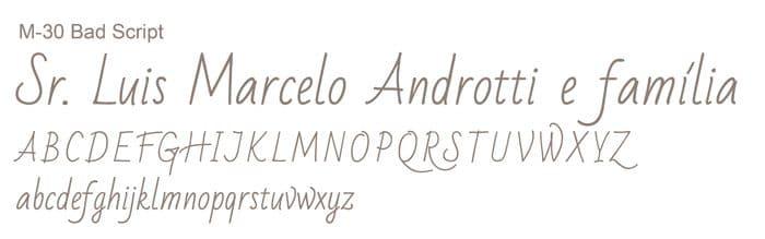 Letra e Fontes para convites de casamento - Letras Clássicas M-30 - Art Invitte Convites