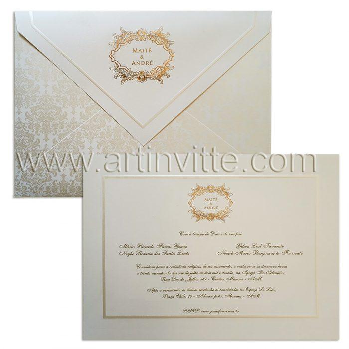 Convite para casamento modelo Toronto Clássico TT 030.