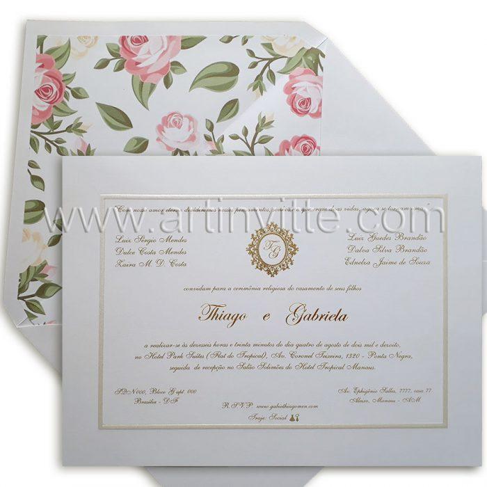 Convite para casamento modelo Toronto Clássico TT 031