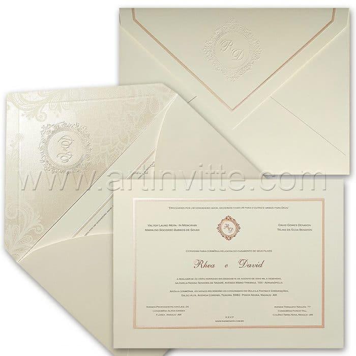 Convite de casamento Tradicional - Toronto TT 038 - Rosê e Rosa Perolado - Art Invitte Convites