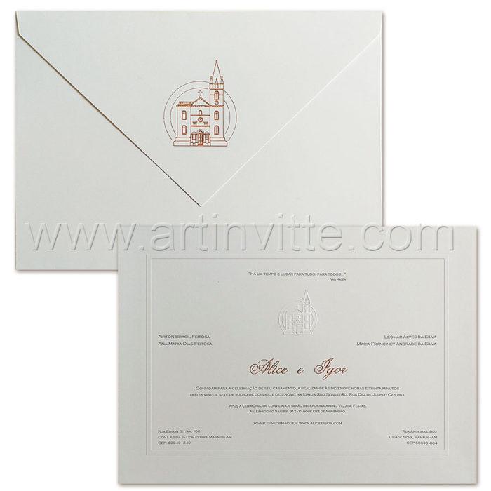 Convite de casamento Tradicional - Toronto TT 040 - Rosê e Cinza - Art Invitte Convites de casamento