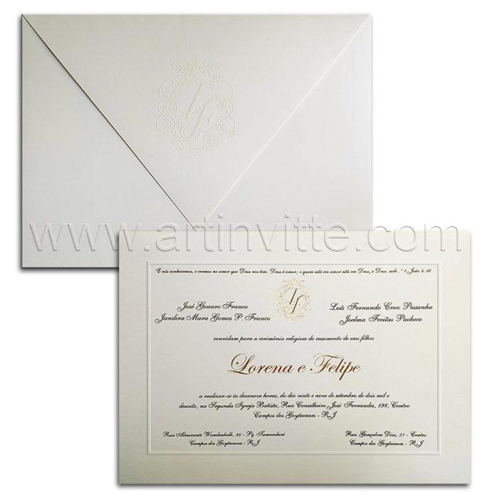 Convite de casamento Tradicional Toronto TT 041 - Art Invitte Convites de casamento