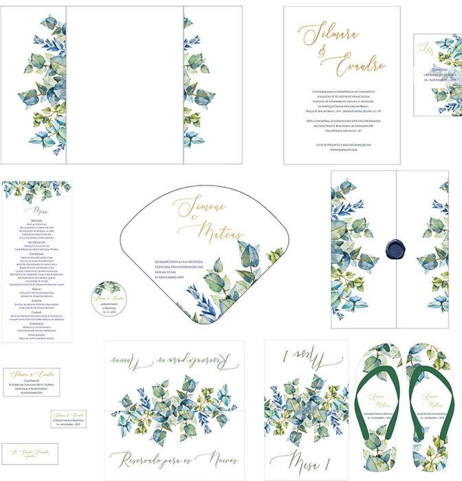 Kit completo de papelaria personalizada com tema eucalipto