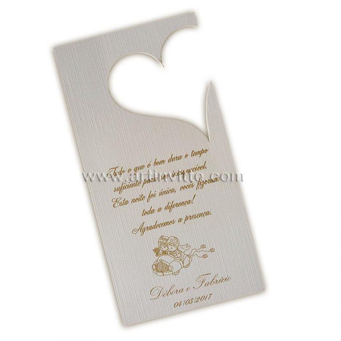 Tag de estacionamento para casamento - com abertura em coração