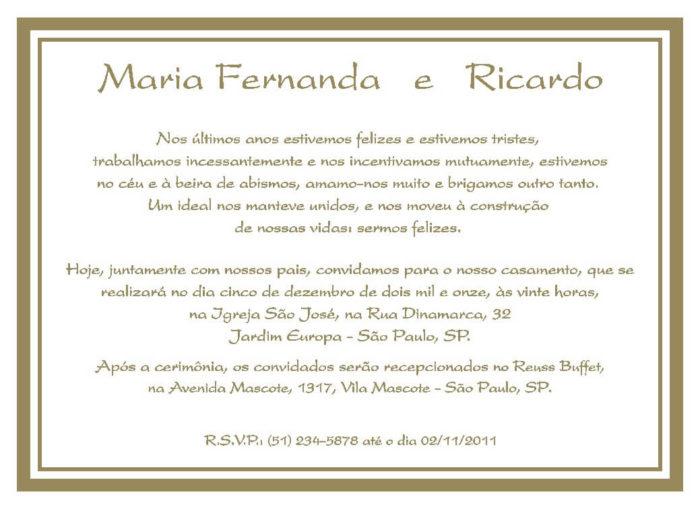 Texto para convite de casamento TC 14