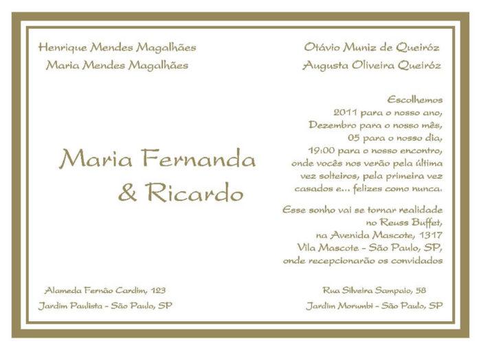 Texto para convite de casamento TC 18