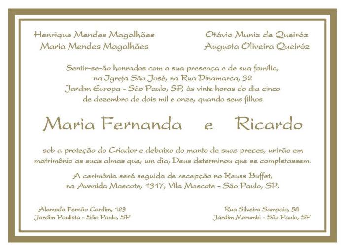 Texto para convite de casamento TC 03