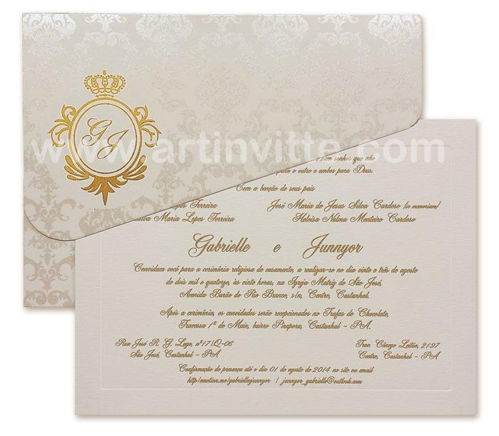 Convite Veneza VZ 042 em pérola e dourado