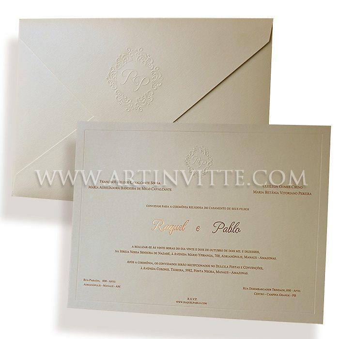 Convite de casamento clássico e tradicional Veneza VZ 052