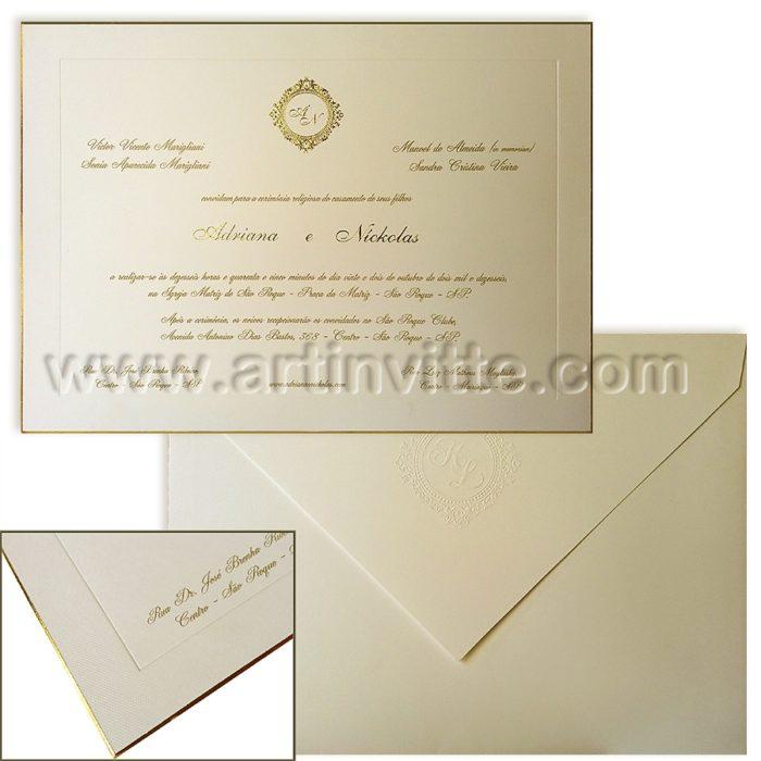 Convite de casamento com borda dourada Veneza VZ 055