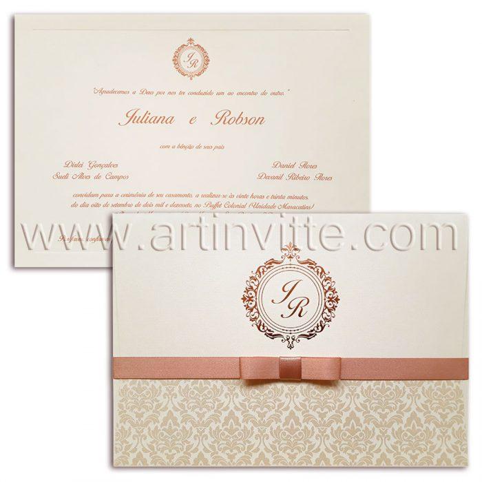 Convite de casamento rosê Veneza VZ 065