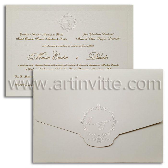 Convite de casamento clássico Veenza VZ 066