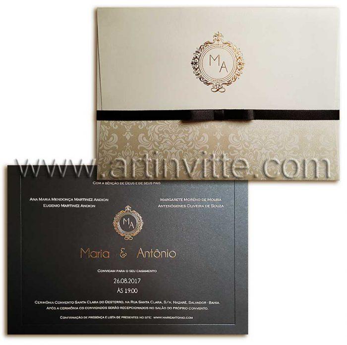 Convite de casamento Veneza VZ 068 - chique