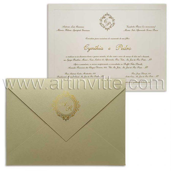 Convite de casamento luxuoso dourado Veneza VZ 071