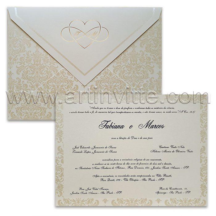 Convite de casamento Pérola e Dourado Veneza VZ 073