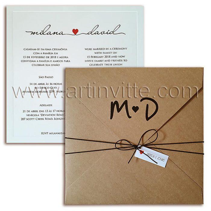 Convite de casamento modelo Veneza Rústico VZ 076, - convites rústicos