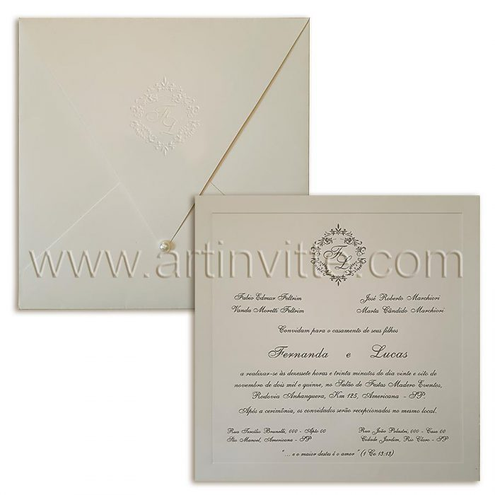 Convite de casamento tradicional com brasão Veneza VZ 077