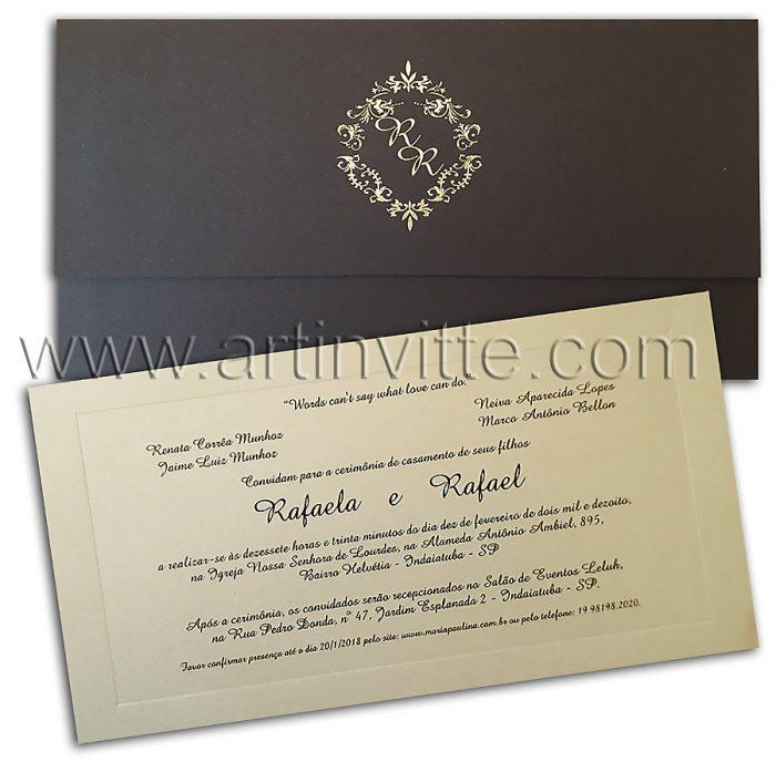 Convite de casamento tradicional preto Veneza VZ 078