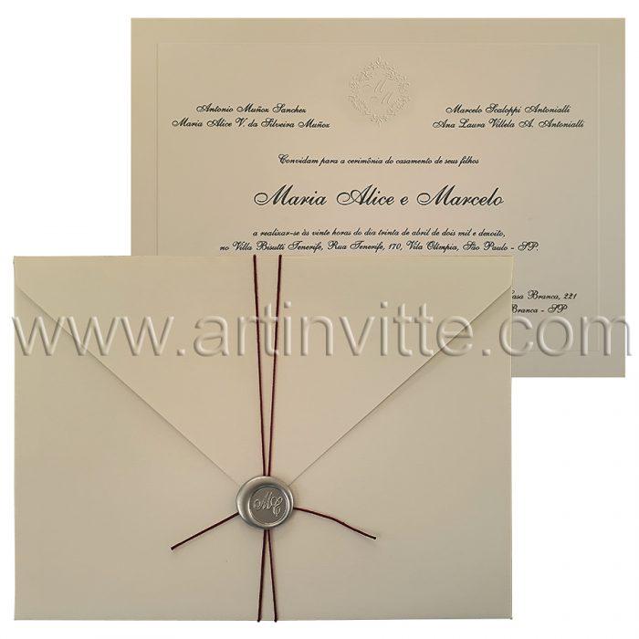Convite de casamento tradicional Veneza VZ 079