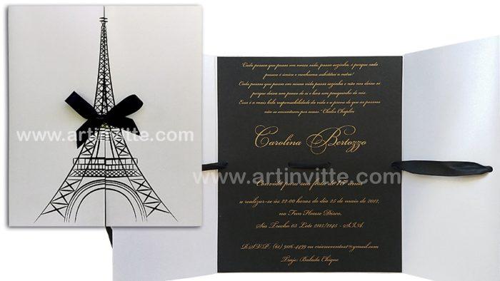 Convite de 15 anos com torre Eiffel Paris DIF 001
