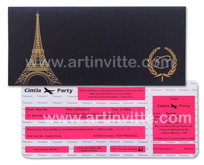 Convite 15 anos Voucher Paris - Art Invitte Convites Preto Pink dourado