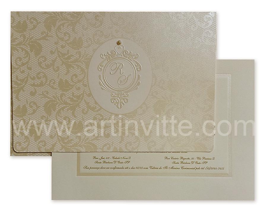 Convite de casamento Capri CP 017 pérola e dourado