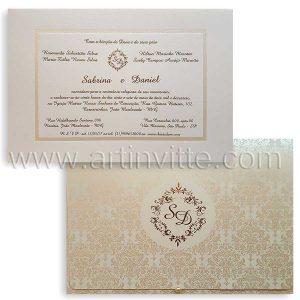 Convite de casamento Capri CP 020 pérola e dourado
