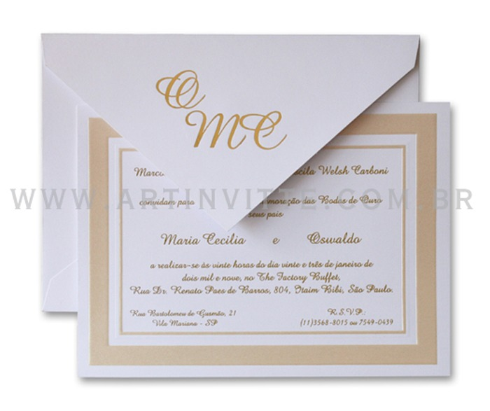 Convite de casamento tradicional Cozumel CZ 017