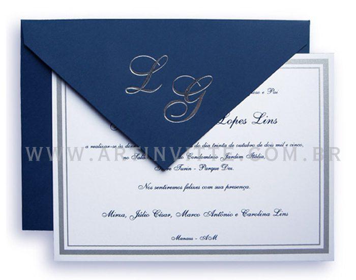 Convite de casamento Dois Frisos Azul Marinho DF 003