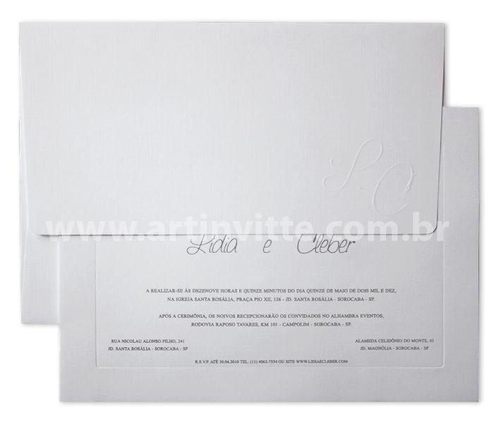 Convite de casamento Veneza VZ 004 Branco e Prata