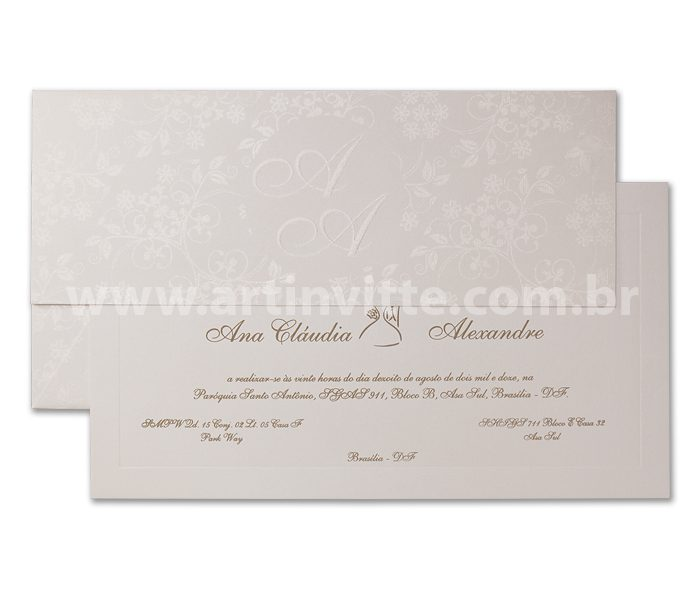 COnvite de casamento Veneza VZ 015 - convite tradicional