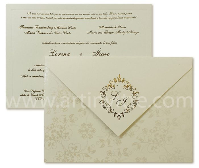 Convite de casamento modelo Veneza VZ 036