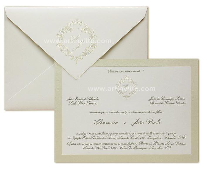 Convite de casamento Veneza VZ 039 com borda em pérola