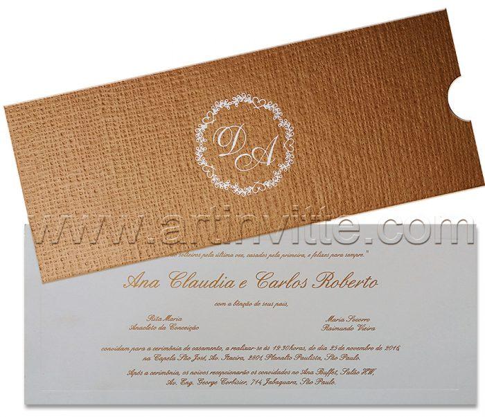 Convite de casamento rústico Fronha FR 047 em kraft - convites rústicos