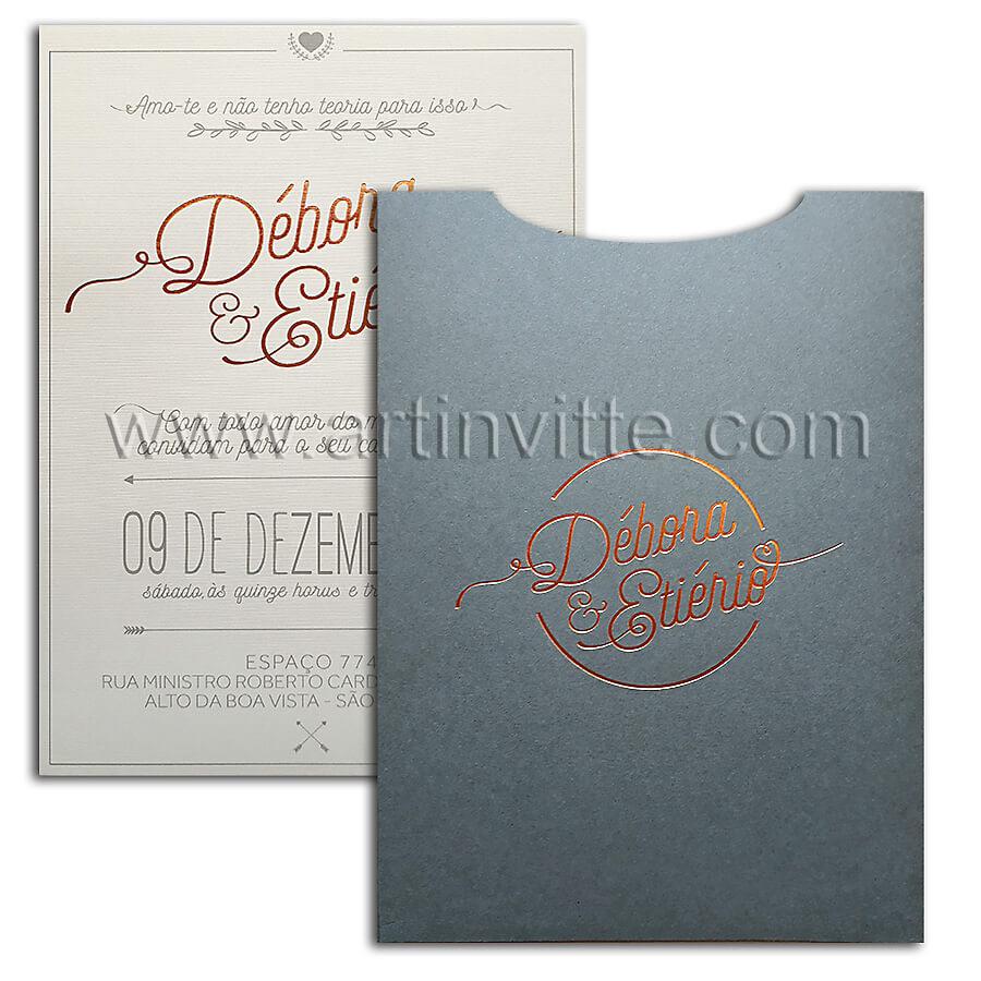 Convite de casamento moderno rosê Fronha FR 051,