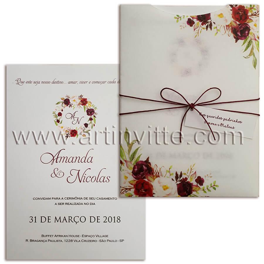 Convite de casamento floral Fronha FR 052
