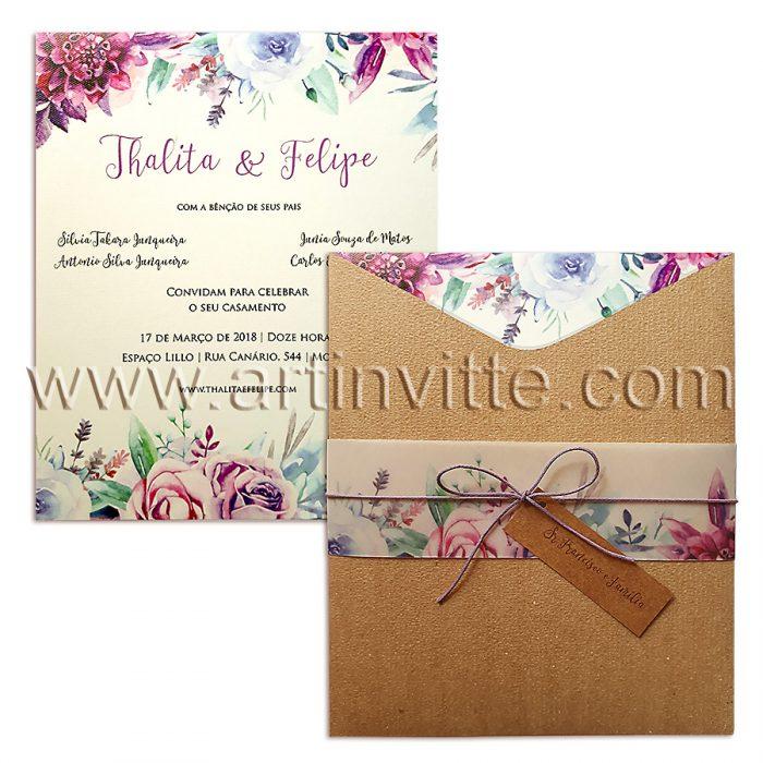 Convite de casamento modelo Fronha FR 053 - convites rusticos