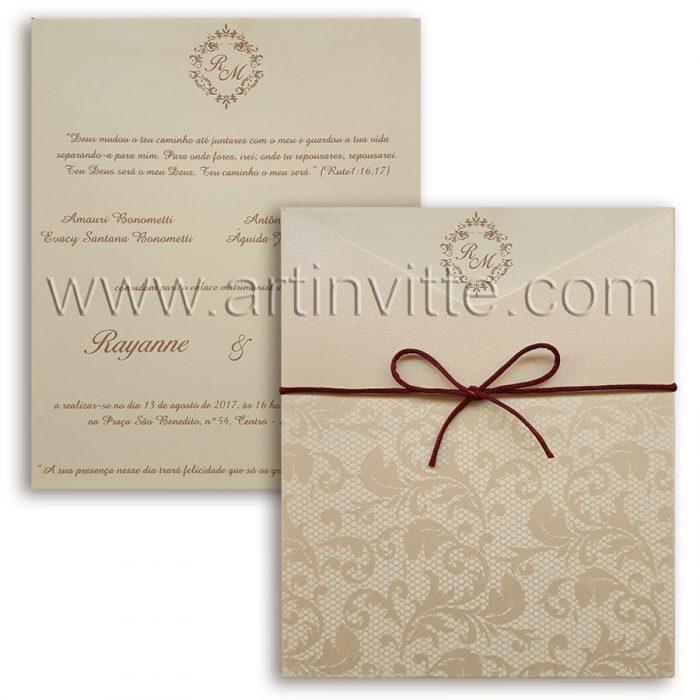 Convite de casamento modelo Fronha FR 055