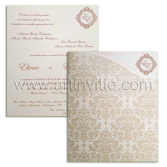 Convite de casamento romântico modelo FR 058
