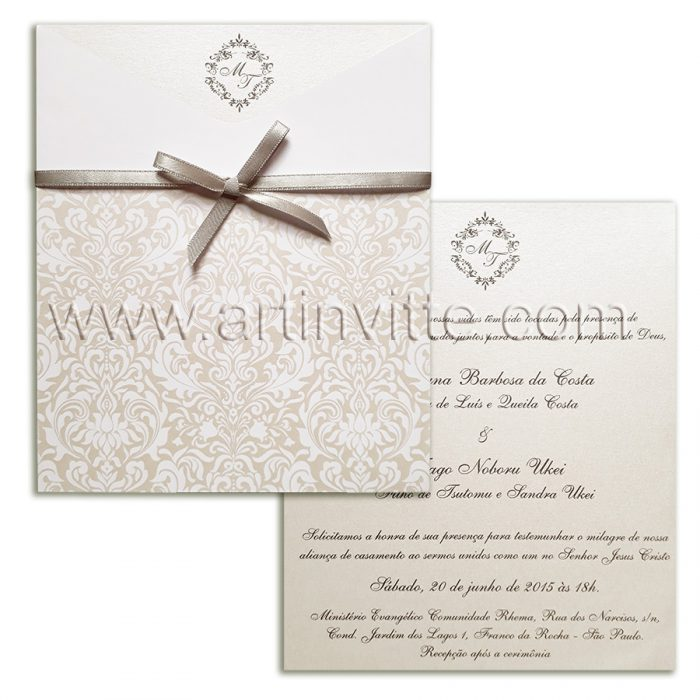 Convite de casamento clássico FR 059