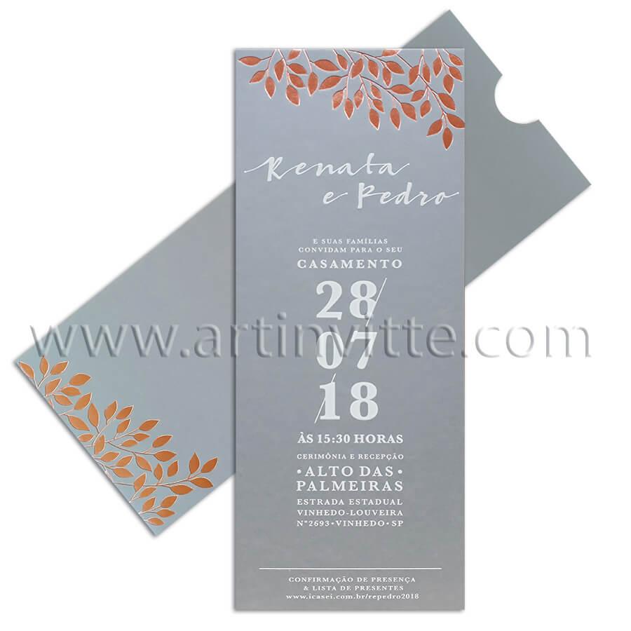 Convite de casamento vertical moderno, Fronha FR 062