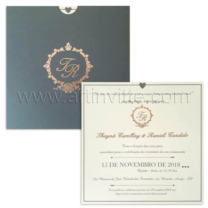 Convite de casamento moderno fronha modelo Fronha FR 064