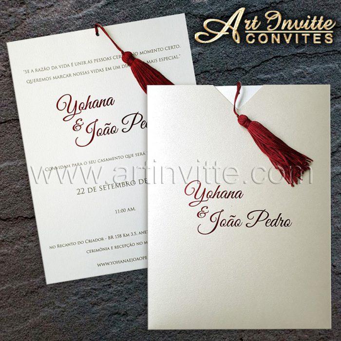Convite de casamento moderno modelo Fronha FR 065