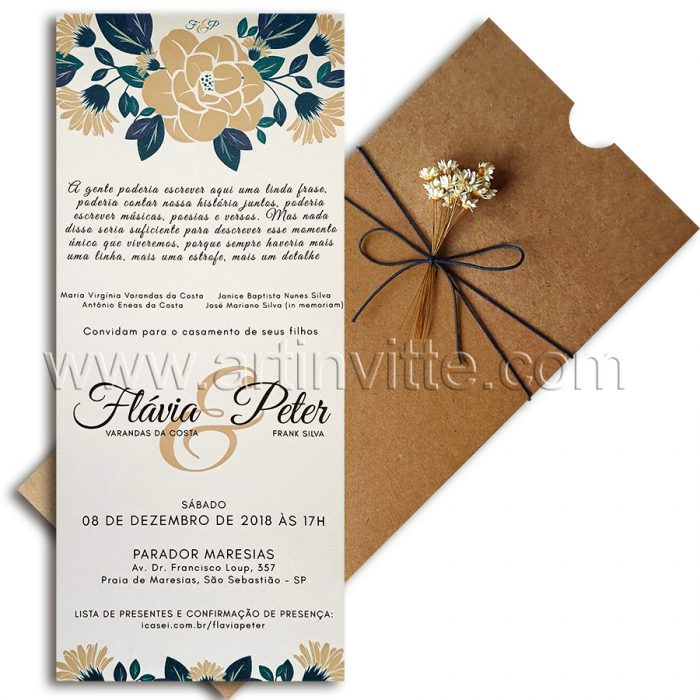 Convite de casamento rústico Fronha FR 067 - convites rústicos