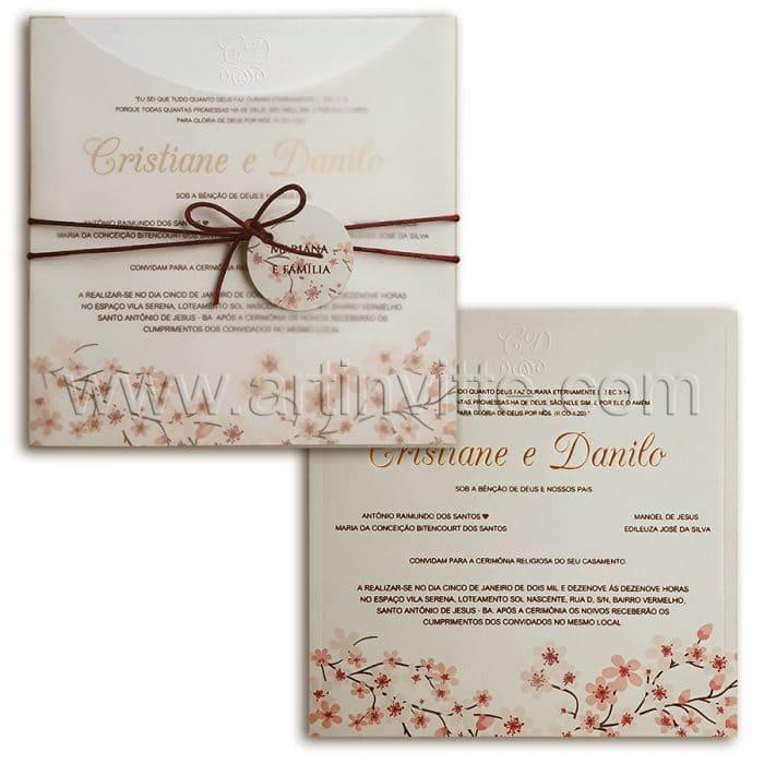 Convite de casamento Fronha FR 068 - Floral com vegetal