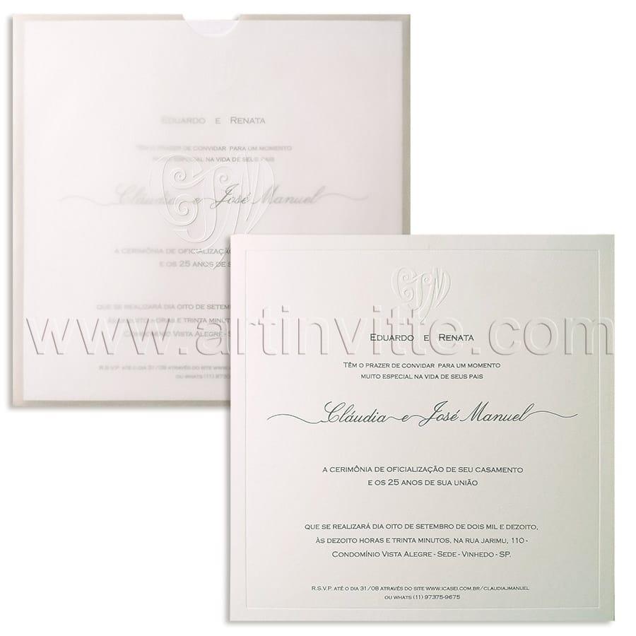 Convite de casamento Moderno FR 069 - Vegetal e convite branco e cinza