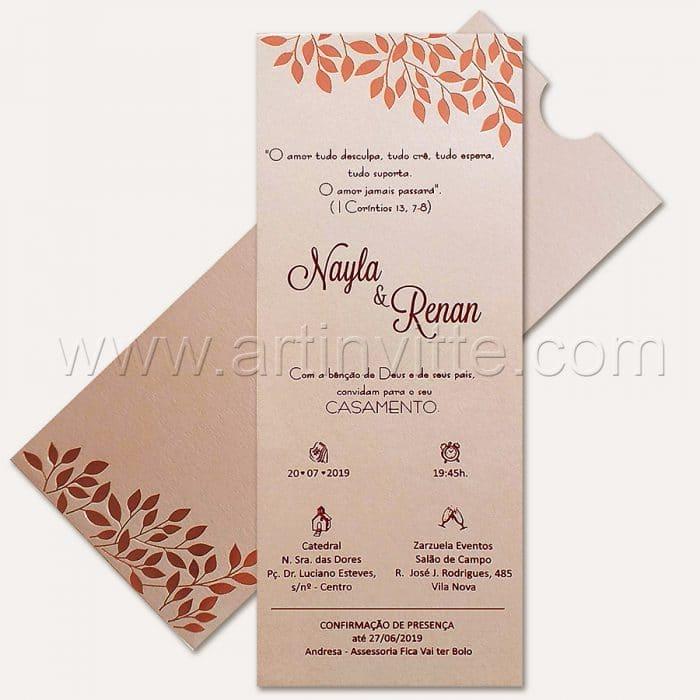 Convite de casamento Folhagem - Fronha FR 070 - Rosê e Nude - Art Invitte Convites